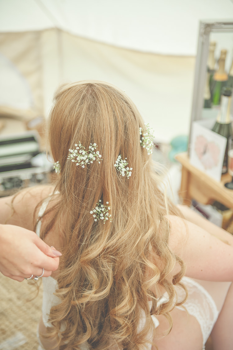 Gypsophila Baby Breath Hair Bride Bridal Long Waves Curls Style Quirky Natural Woodland Wedding http://lisahowardphotography.co.uk/