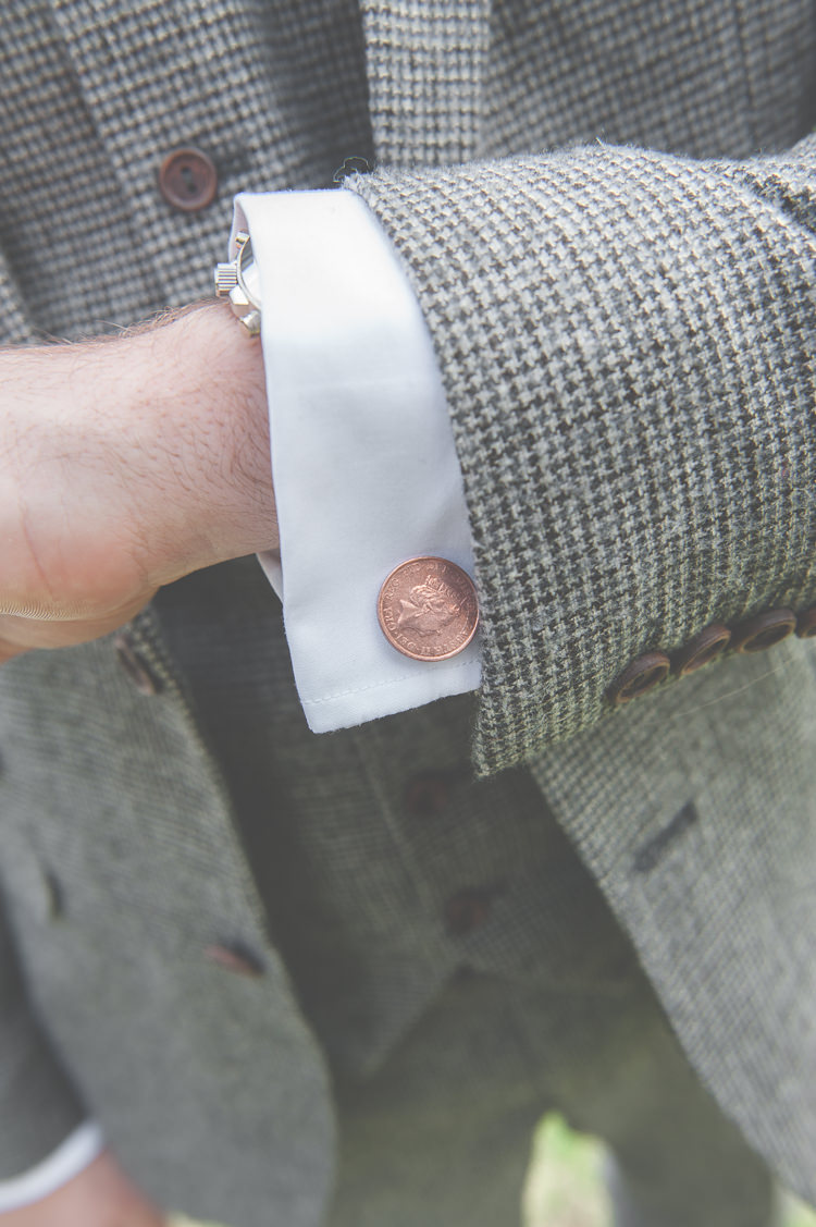 Penny Cufflinks Groom Style Quirky Natural Woodland Wedding http://lisahowardphotography.co.uk/