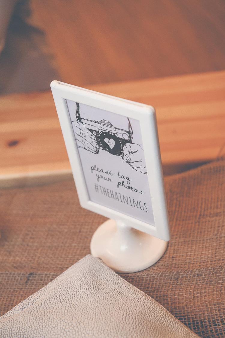 Instagram Hashtag Sign Quirky Natural Woodland Wedding http://lisahowardphotography.co.uk/