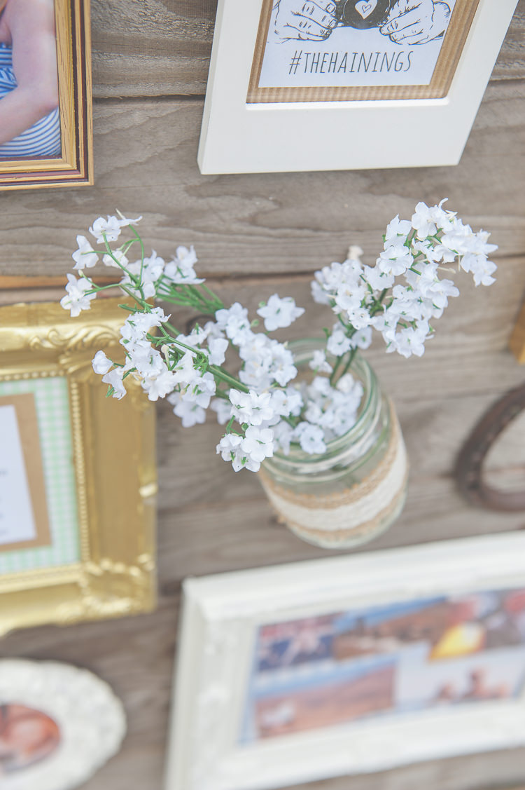 Jar Flowers White Hessian Lace Quirky Natural Woodland Wedding http://lisahowardphotography.co.uk/
