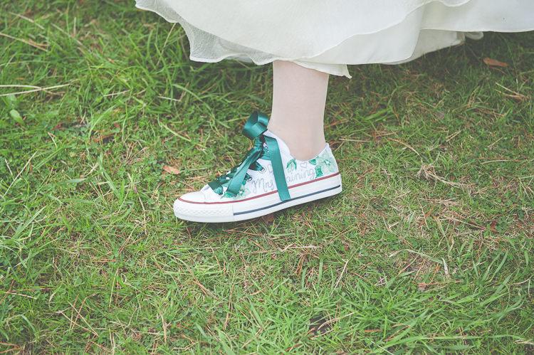 Custom Converse Bride Bridal Quirky Natural Woodland Wedding http://lisahowardphotography.co.uk/