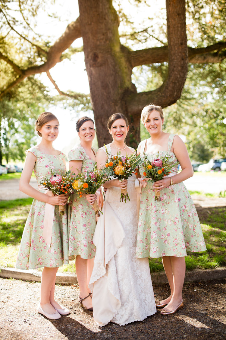 Floral Bridesmaid Dresses Autumn Kentish Village Hall Wedding http://www.livvy-hukins.co.uk/