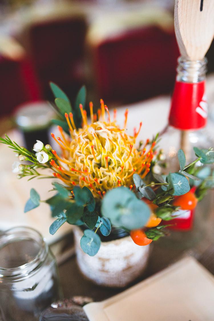 Orange Flowers Jar Wax Autumn Kentish Village Hall Wedding http://www.livvy-hukins.co.uk/