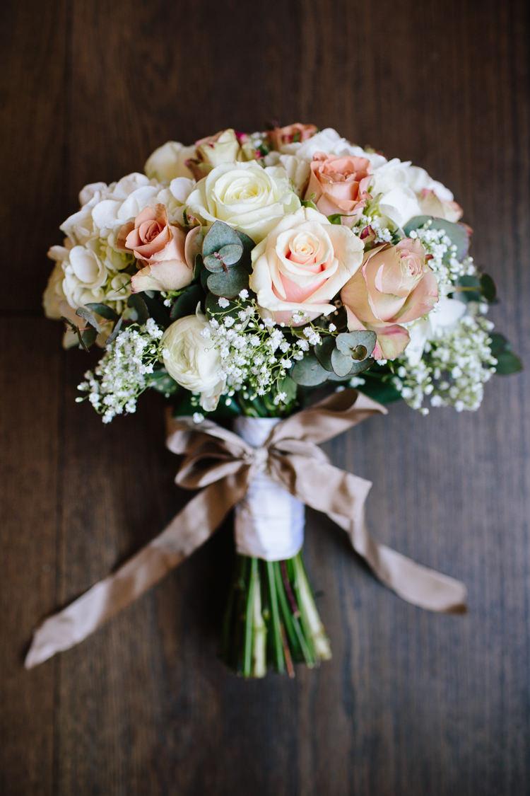 Rose Gypsophila White Blush Bouquet Ribbon Bow Flowers Bride Bridal Chic Hollywood Glamour Wedding http://www.kategrayphotography.com/