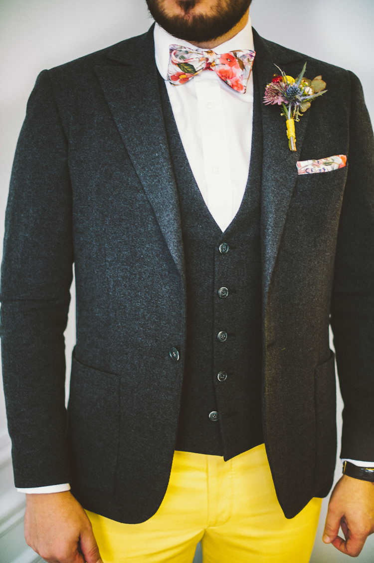 Groom Glasses Floral Bow Tie Yellow Trousers Chinos Whimsical Vibrant Multicolour Wedding Ideas http://hecapture.fr/