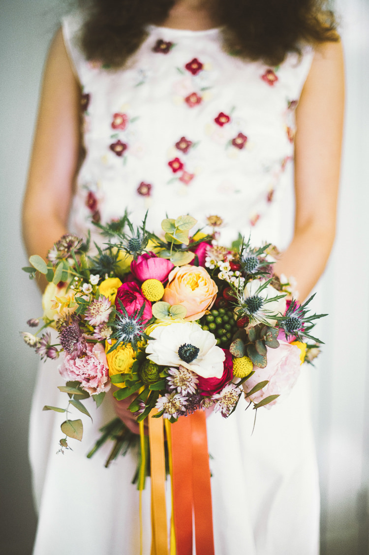 Bouquet Pink Yellow Blue Ribbons Whimsical Vibrant Multicolour Wedding Ideas http://hecapture.fr/