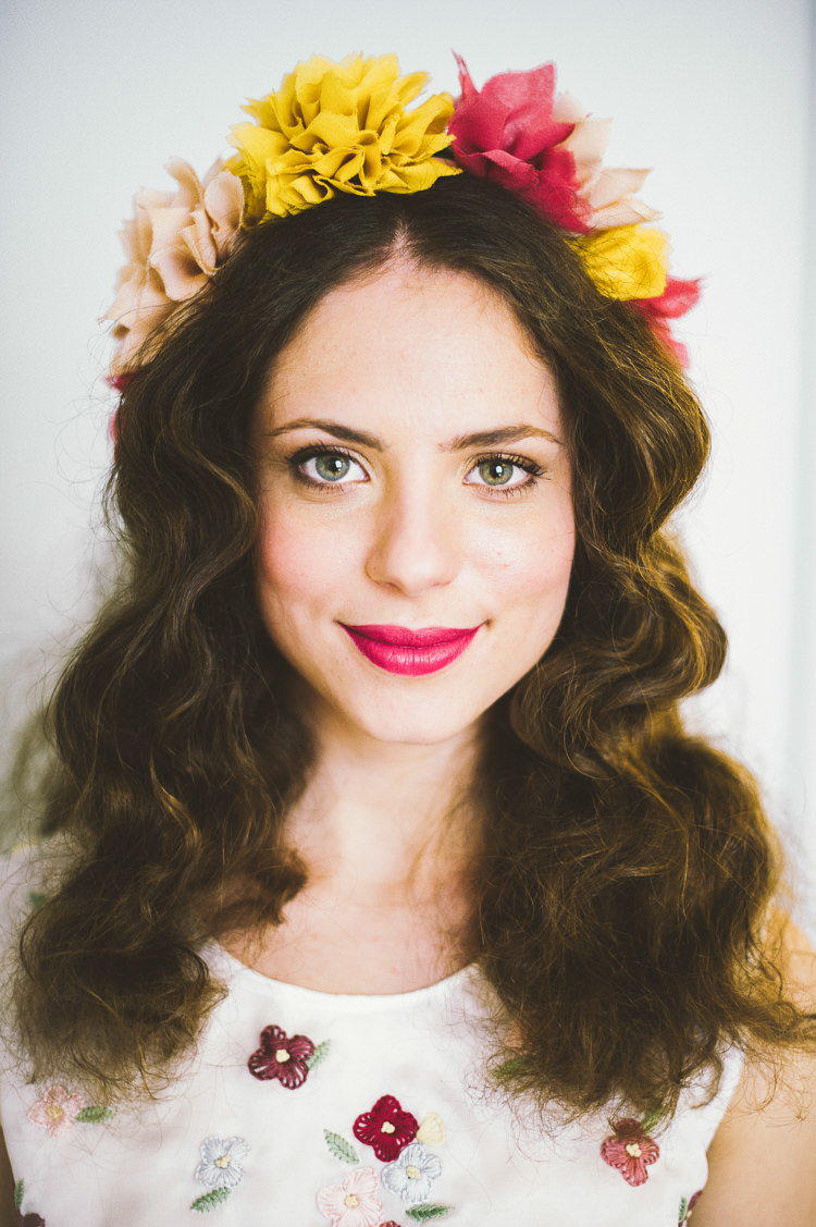 Fabric Flower Crown Make Up Pink Yellow Bride Bridal Whimsical Vibrant Multicolour Wedding Ideas http://hecapture.fr/
