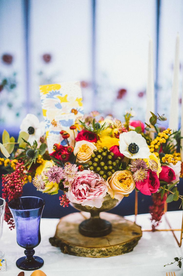 Flowers Arrangement Pink Yellow Blue Whimsical Vibrant Multicolour Wedding Ideas http://hecapture.fr/