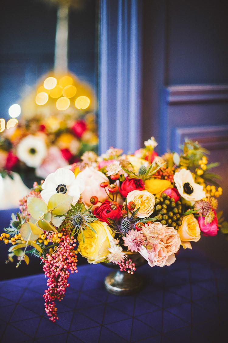 Pink Blue Yellow Flowers Arrangement Natural Whimsical Vibrant Multicolour Wedding Ideas http://hecapture.fr/