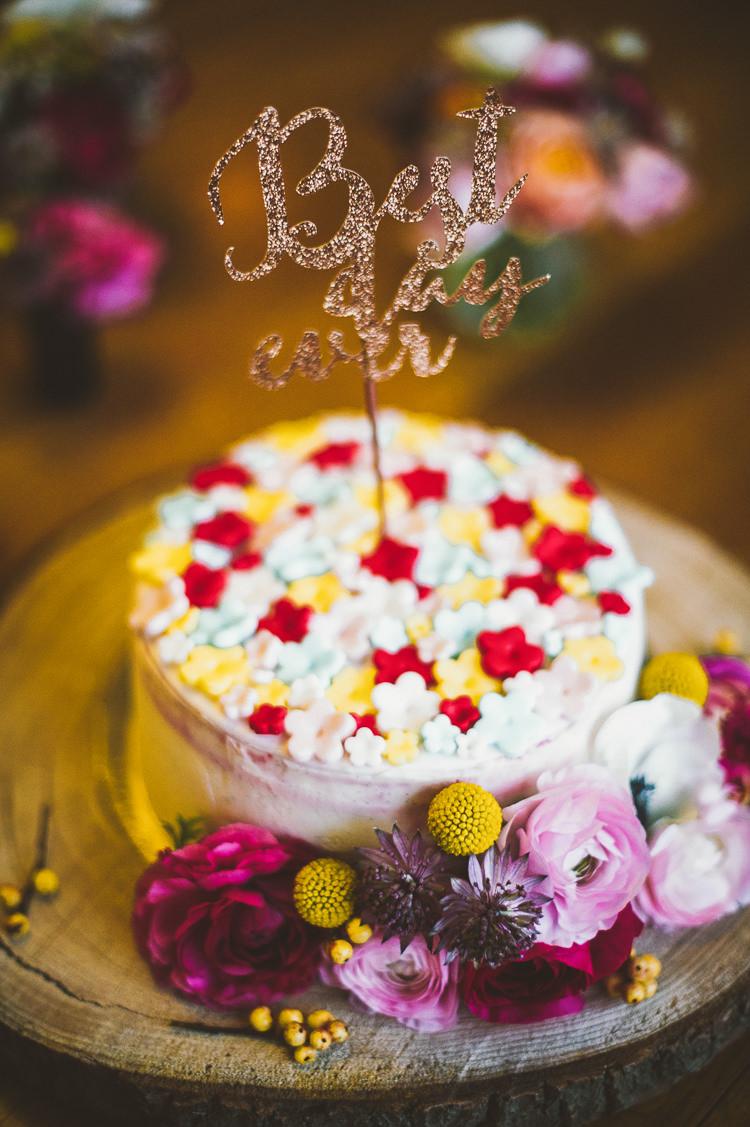 Glitter Cake Topper Best Day Ever Whimsical Vibrant Multicolour Wedding Ideas http://hecapture.fr/