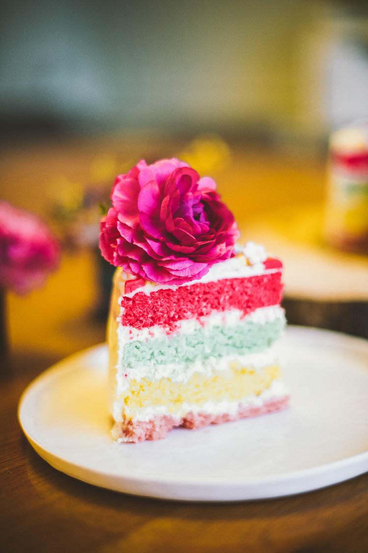 Rainbow Cake Slice Inside Secret Whimsical Vibrant Multicolour Wedding Ideas http://hecapture.fr/
