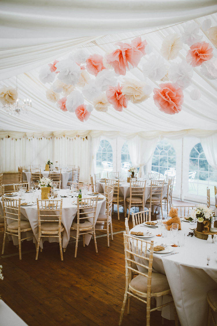 Pink White Pom Poms Marquee Wedding http://www.alextentersphotography.co.uk/