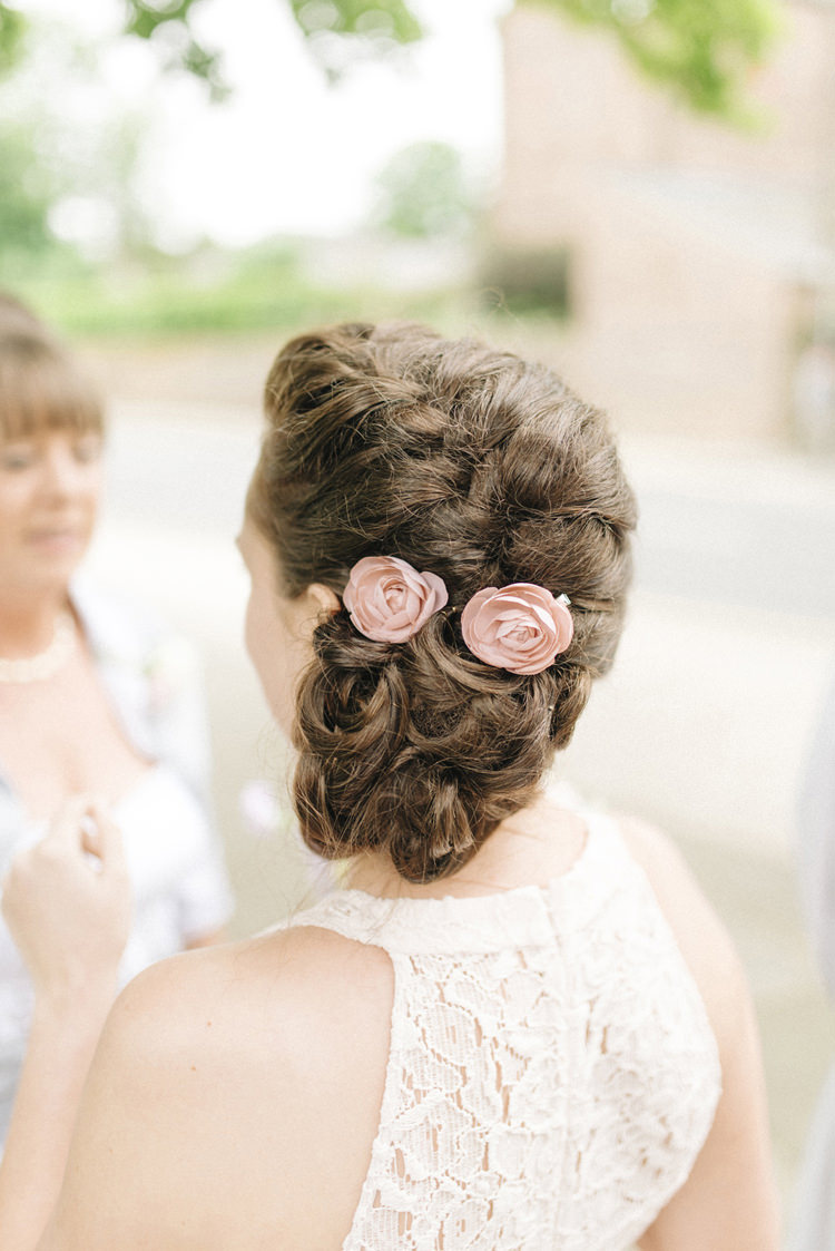 Bridesmaid Hair Style Up Do Plait Braid Flowers Chic Pastel City Wedding http://sarahjaneethan.co.uk/