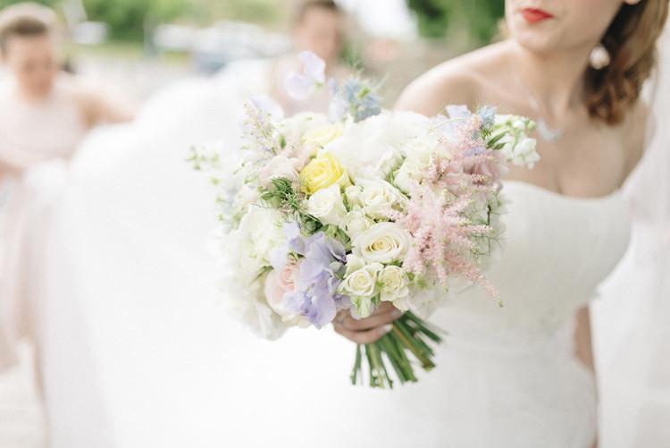White Pink Purple Yellow Flowers Bouquet Bride Bridal Chic Pastel City Wedding http://sarahjaneethan.co.uk/