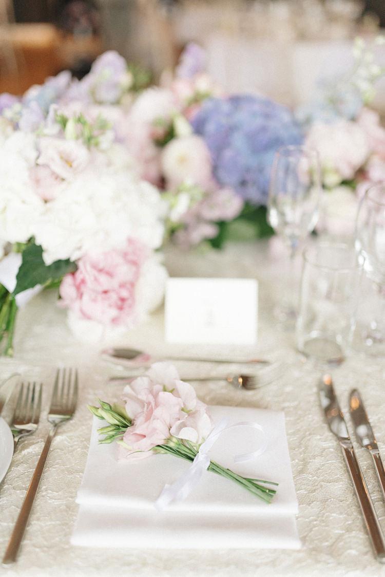 Flower Ribbbon Place Setting Decor Tables Chic Pastel City Wedding http://sarahjaneethan.co.uk/