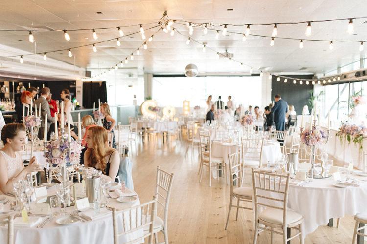 Festoon Lights Baltic Centre Chic Pastel City Wedding http://sarahjaneethan.co.uk/
