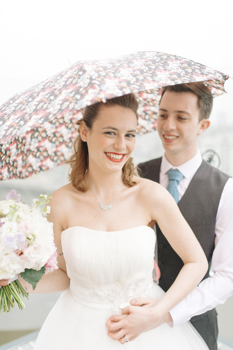 Rainy Umbrella Chic Pastel City Wedding http://sarahjaneethan.co.uk/