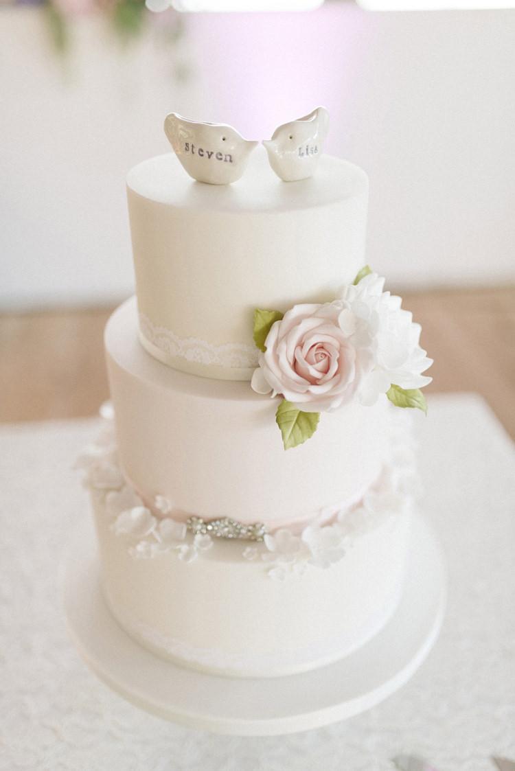 White Cake Flowers Lace Petals Birds Topper Chic Pastel City Wedding http://sarahjaneethan.co.uk/