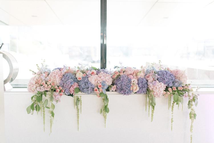 Top Table Flower Arrangement Pink Purple Chic Pastel City Wedding http://sarahjaneethan.co.uk/