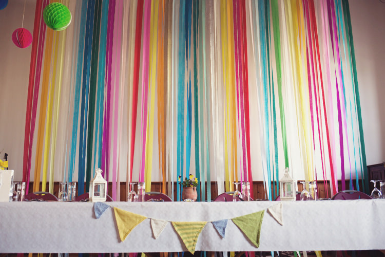 Bunting Lanterns Streamers Backdrop Colourful Crafty Country Spring Village Wedding http://myfabulouslife.co.uk/