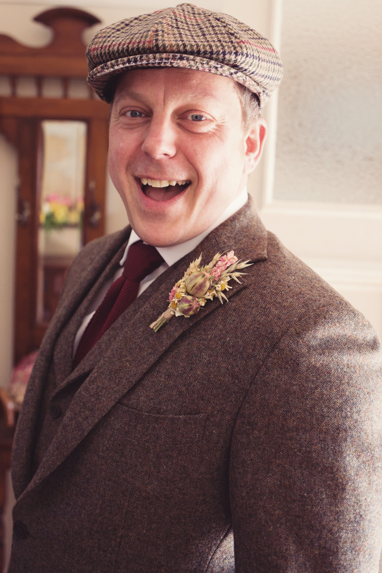 Tweed Groom Suit Dried Flowers Buttonhole Colourful Crafty Country Spring Village Wedding http://myfabulouslife.co.uk/