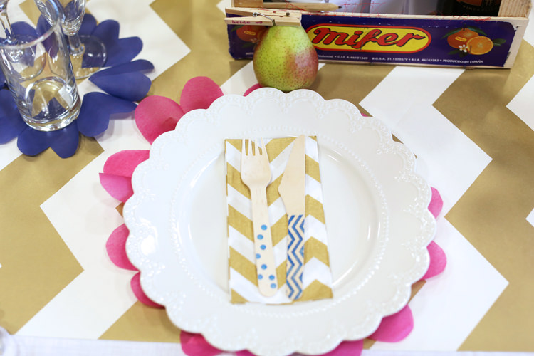 Wooden Cutlery Chevron Napkins Colourful Home Made Spring Wedding http://www.jadelisaphotography.com/