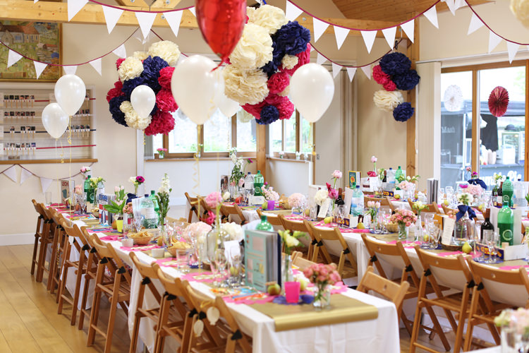 Balloons Bunting Pom Poms Pink Navy Gold Colourful Home Made Spring Wedding http://www.jadelisaphotography.com/
