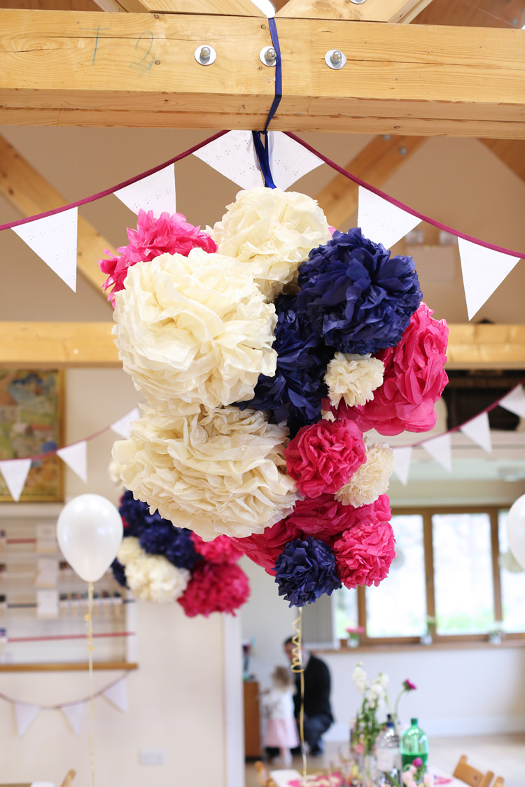 Pink White Blue Pom Poms Colourful Home Made Spring Wedding http://www.jadelisaphotography.com/