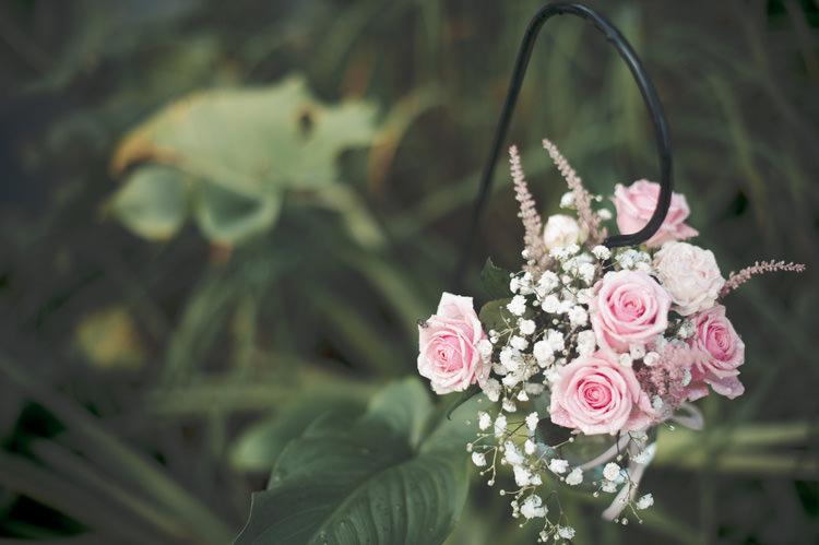 Hanging Flowers Hook Pink Beautiful Summer Garden Party Wedding http://divinedayphotography.com/