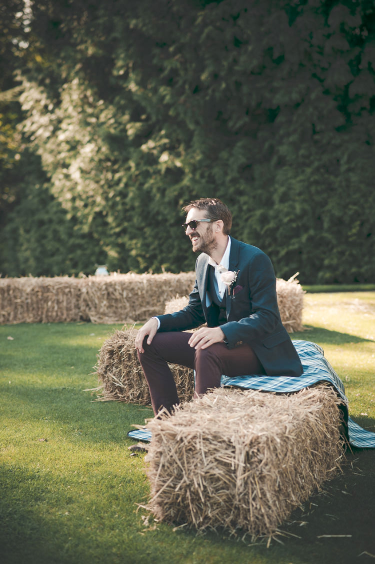 Ted Baker Groom Red Trousers Navy Jacket Beautiful Summer Garden Party Wedding http://divinedayphotography.com/