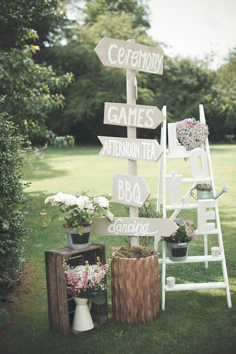 Wooden Sign Post Beautiful Summer Garden Party Wedding http://divinedayphotography.com/