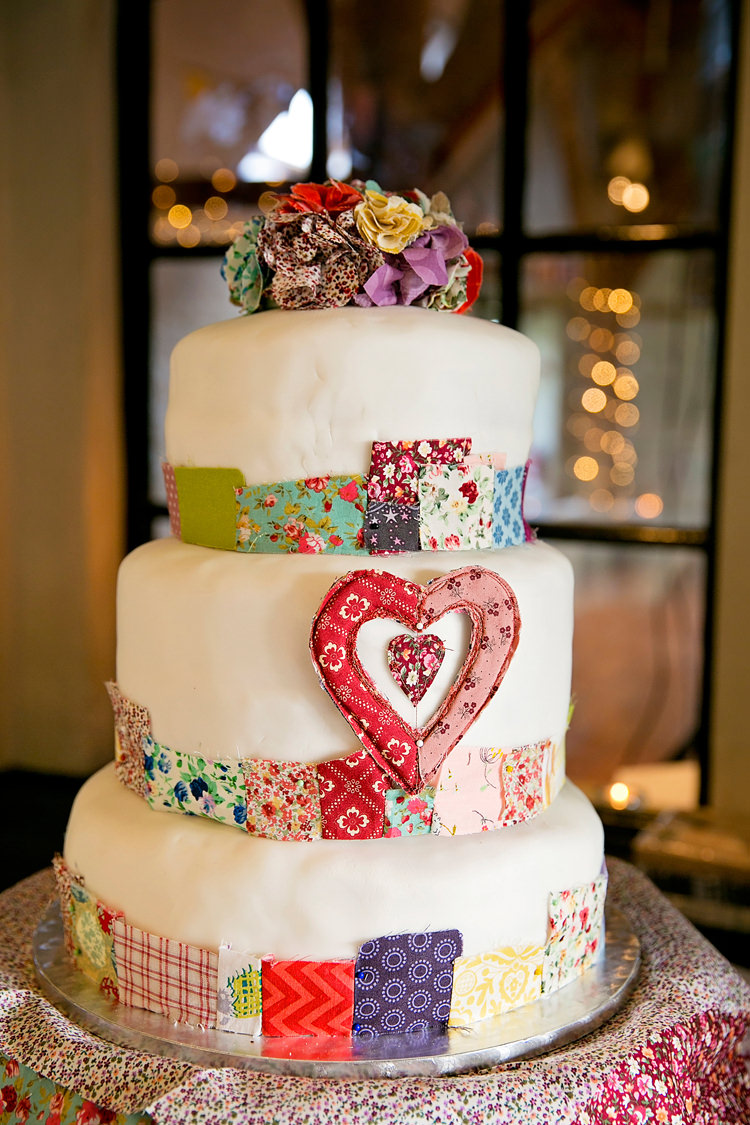 Fabric Patchwork Quilt Cake Vintage Autumn School Wedding http://www.rachaeledwardsphotography.co.uk/