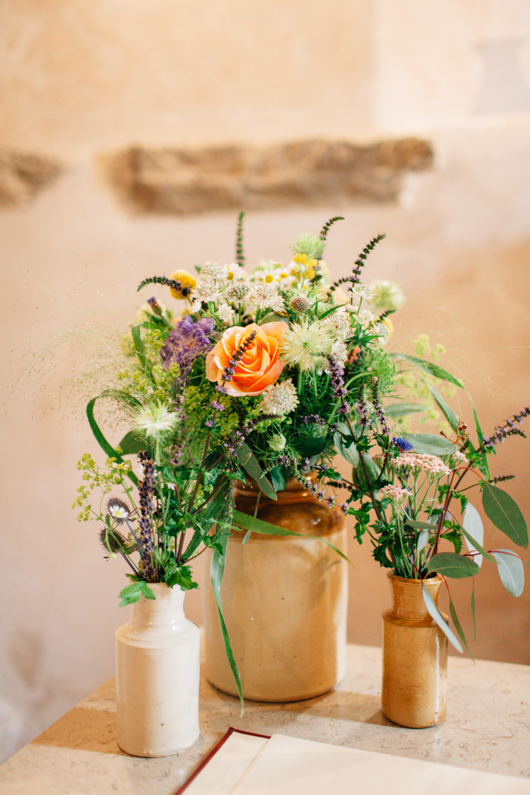 Wildflowers Church Vases Bottles Bohemian Origami Guernsey Wedding http://janiceyiphotography.ca/