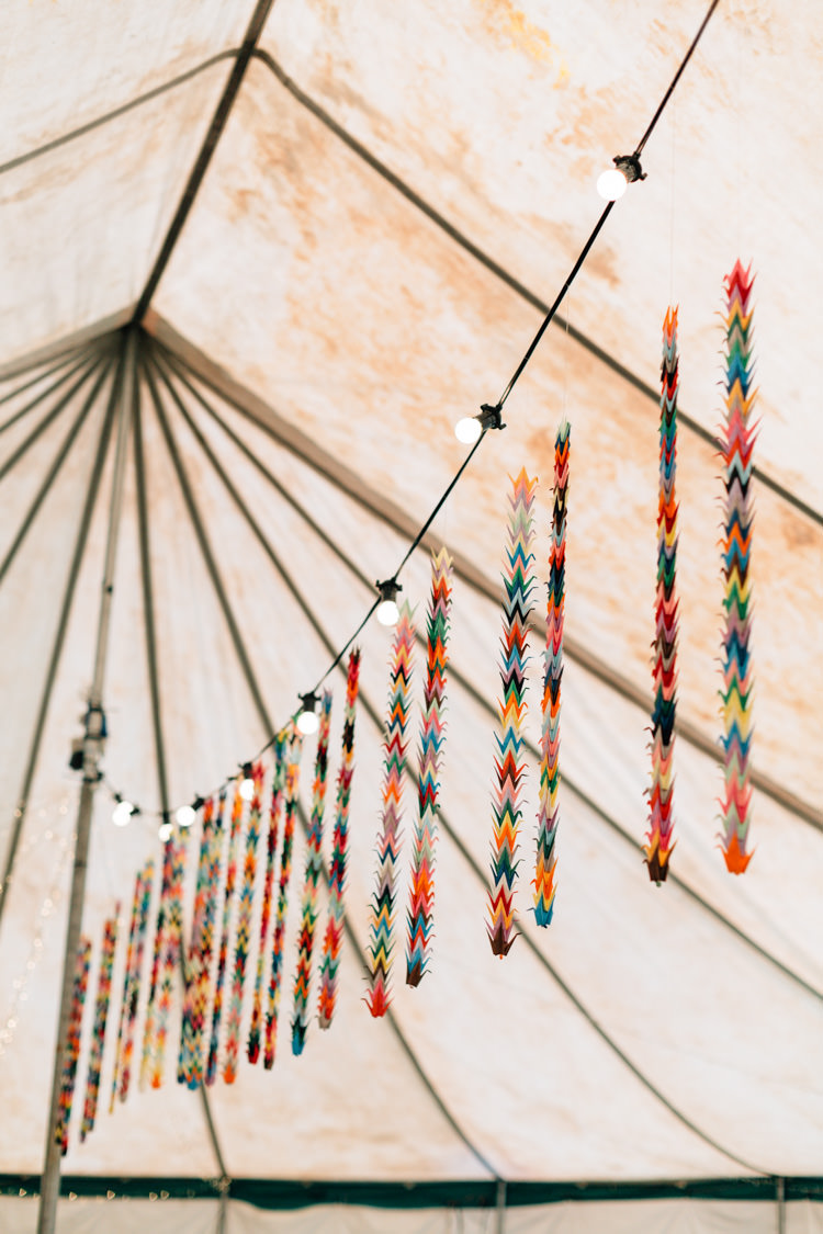 Paper Cranes Marquee Festoon Lights Bohemian Origami Guernsey Wedding http://janiceyiphotography.ca/