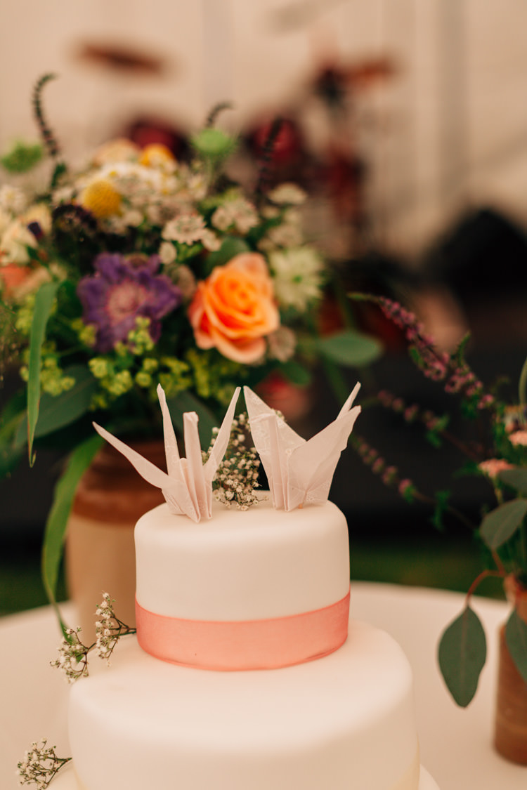 Paper Crane Cake Topper Bohemian Origami Guernsey Wedding http://janiceyiphotography.ca/
