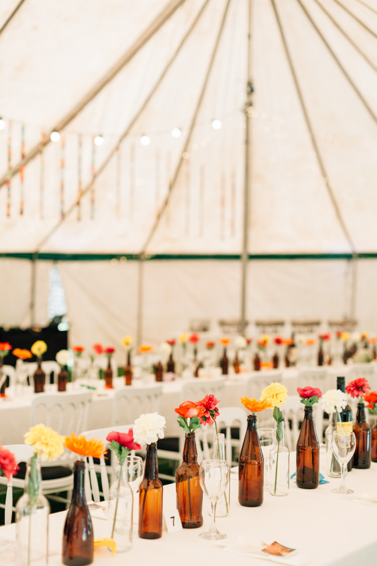 Beer Bottles Flowers Marquee Bohemian Origami Guernsey Wedding http://janiceyiphotography.ca/