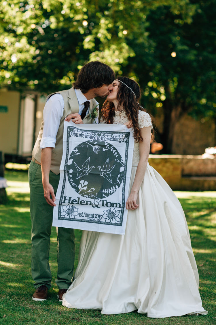 Tea Towel Invitation Stationery DIY Bohemian Origami Guernsey Wedding http://janiceyiphotography.ca/