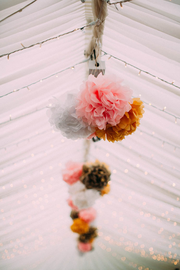 Wedding Pom Pom Ideas Pink Yellow Fairy Lights http://www.lawsonphotography.co.uk/