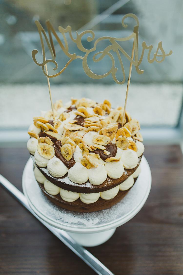 Banana Chocolate Cake Personalised Topper Modern Chic Stylish City Wedding http://photographybymarclawson.com/