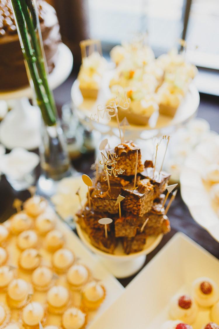 Cake Dessert Table White Gold Modern Chic Stylish City Wedding http://photographybymarclawson.com/