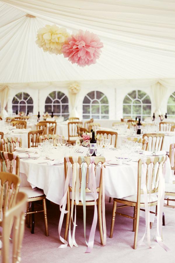 Pink Yellow Wedding Pom Pom Ideas Marquee http://www.rebeccaweddingphotography.co.uk/