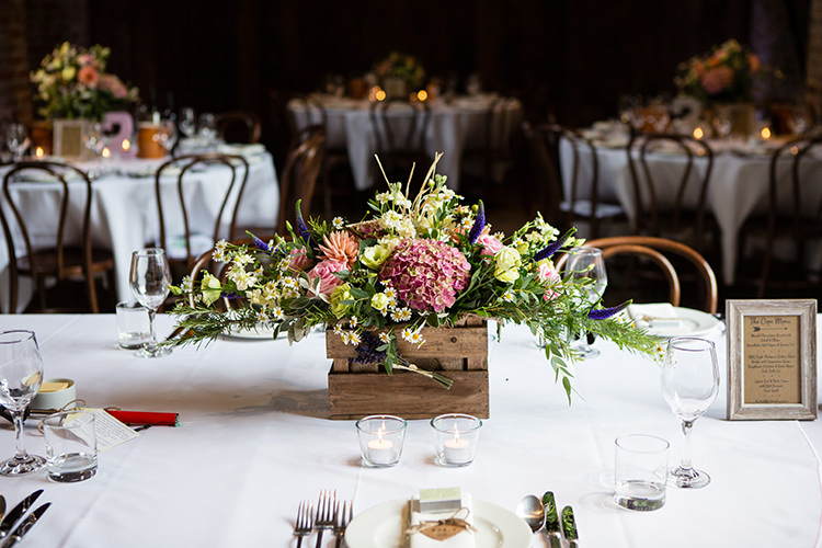 Crate Flowers Table Centrepiece Pretty Natural Floral Barn Wedding http://www.johastingsphotography.co.uk/