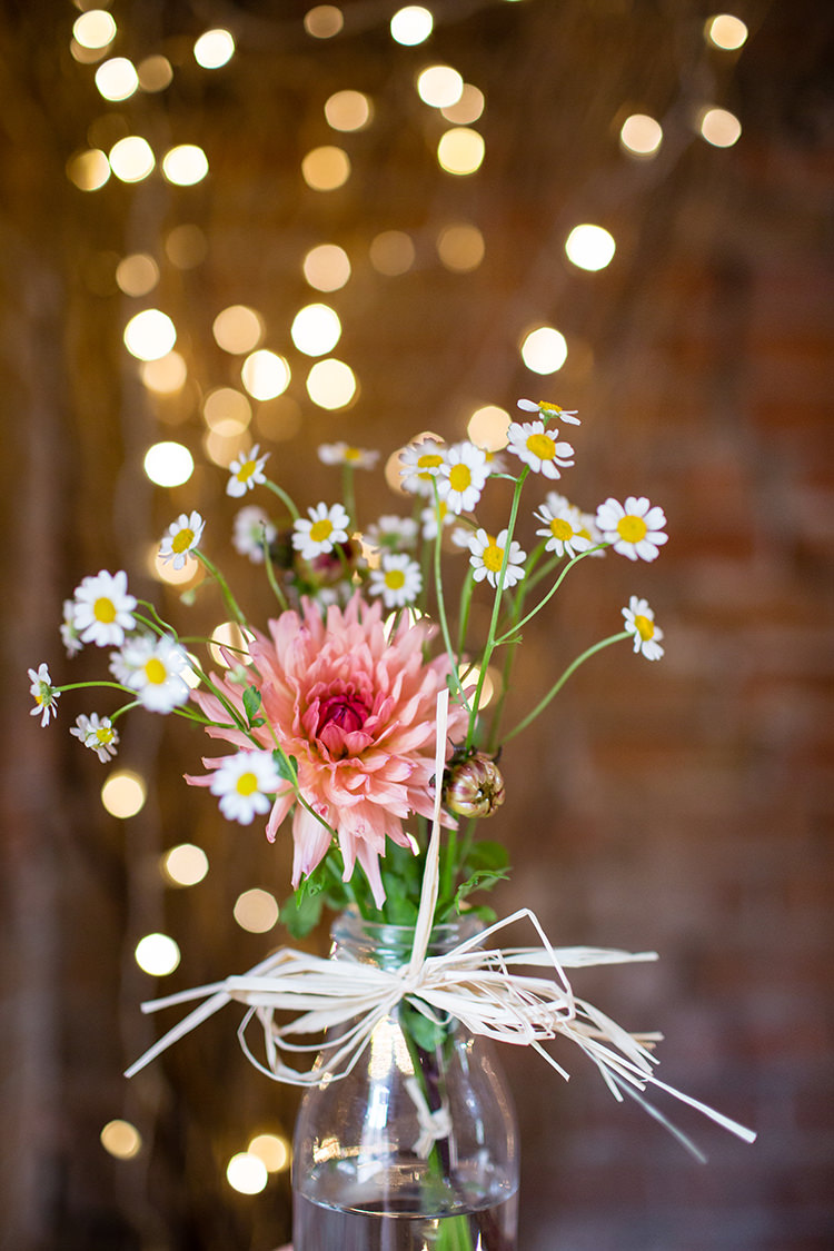 Raffia Bottle Flowers Dahlia Daisies Pretty Natural Floral Barn Wedding http://www.johastingsphotography.co.uk/