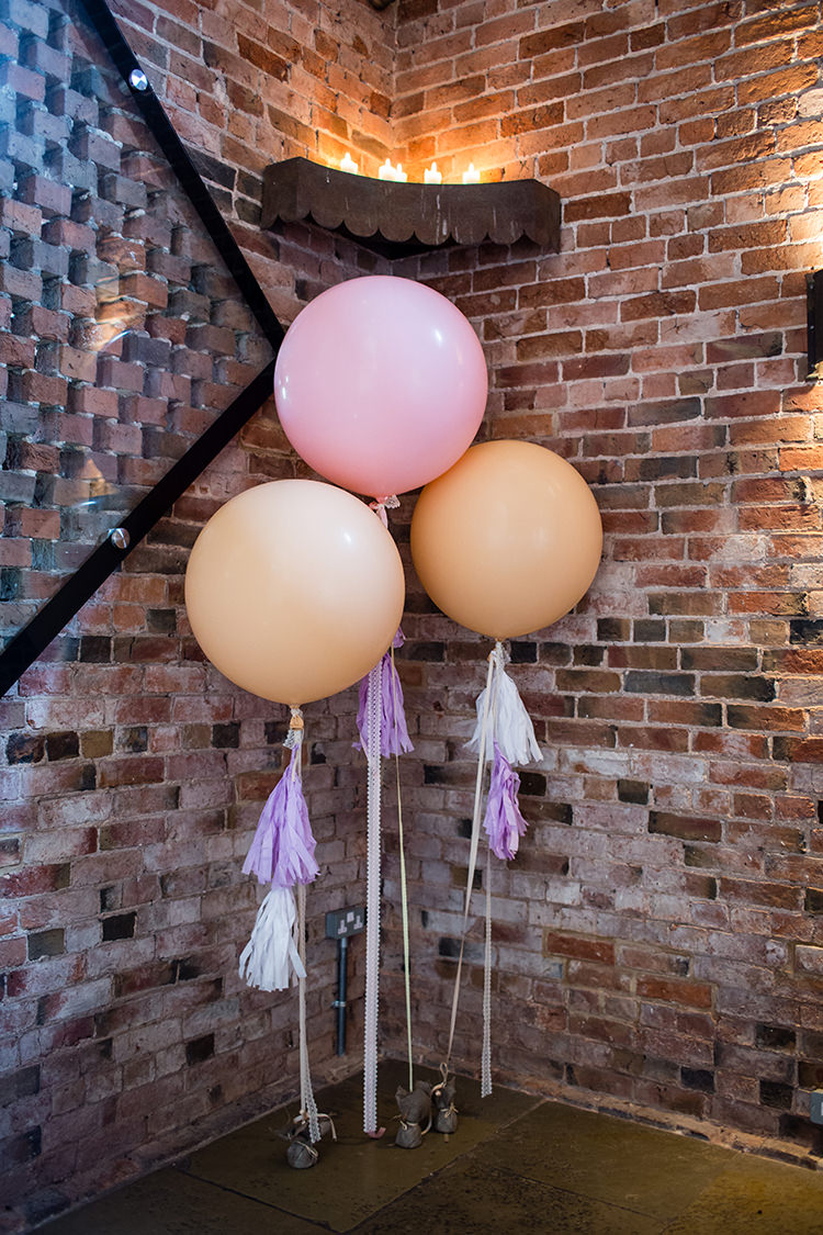 Giant Balloons Tassels Pretty Natural Floral Barn Wedding http://www.johastingsphotography.co.uk/