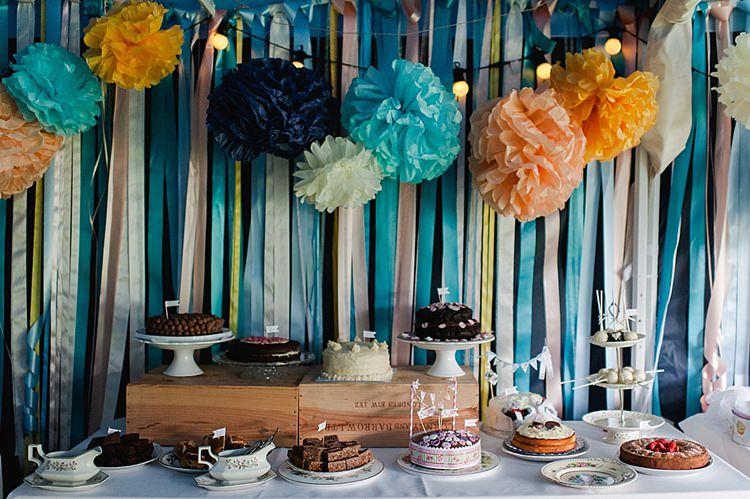 Wedding Pom Pom Ideas Backdrop Cake Dessert Table http://www.alexa-loy.com/