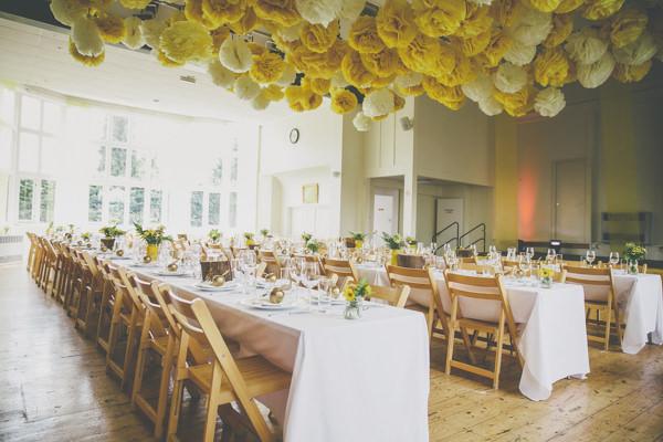 Pom Pom Wedding Ideas Hanging Yellow http://www.milliebenbowphotography.com/