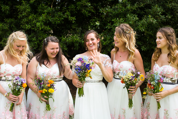 White Floral Bridesmaid Dresses ASOS Colourful DIY Village Hall Wedding http://samanthagilrainephotography.com/