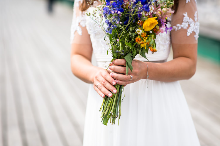Wild Flower Bouquet Bride Bridal Blooms Colourful DIY Village Hall Wedding http://samanthagilrainephotography.com/