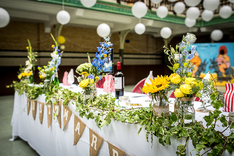 Jar Flowers Top Table Swag Bunting Blue Yellow Quirky Film DIY Wedding http://jamestraceyphotography.com/