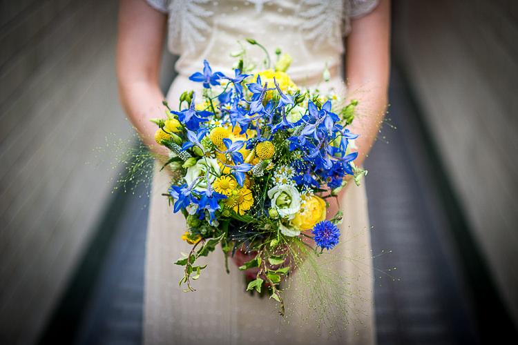 Yellow Blue Bouquet Flowers Bride Bridal Quirky Film DIY Wedding http://jamestraceyphotography.com/